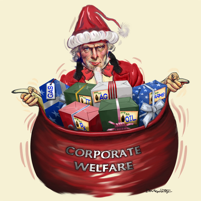 Uncle Sam Santa Claus brings gifts of corporate welfare
