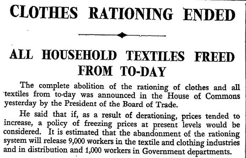 15th March 1949 - Clothes rationing ends | by Bradford Timeline