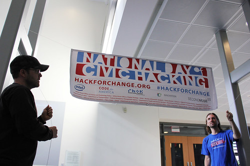 Hanging the National Day of Civic Hacking banner | by Molly McLeod