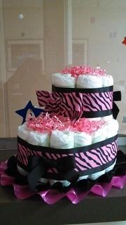 Zebra Print Diaper Bootie/ Pink & Black