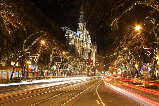 Budapest - the New York palace with the Elisabeth boulevard at night around christmas time 7