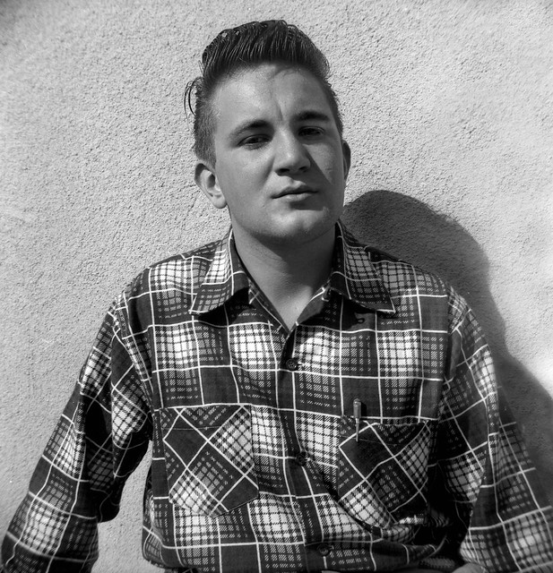 man with plaid shirt, California 1953