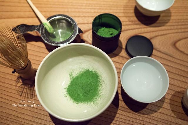 My turn to make my own cup of matcha (Kan-no-shiro matcha)