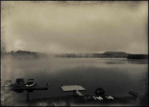 morning white mist ny newyork black mountains nature water landscape adirondacks toned distressed textured iphone ipad oldforge firstlake iphoneography