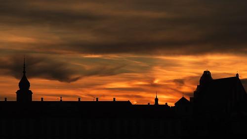 city light sunset red sky color building silhouette architecture buildings lumix europe day cloudy poland polska panasonic warsaw g2 oldtown warszawa panasonicg2