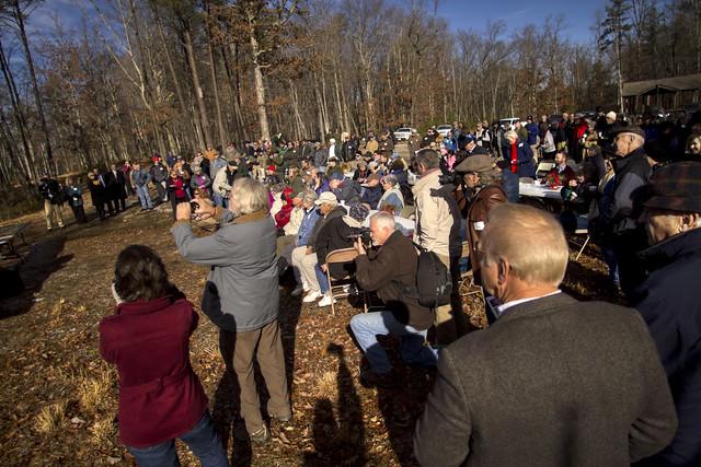 Virgin Falls Dedication Ceremony, crowd, Bridgestone FIrestone Centennial Wilderness WMA, White Co, TN