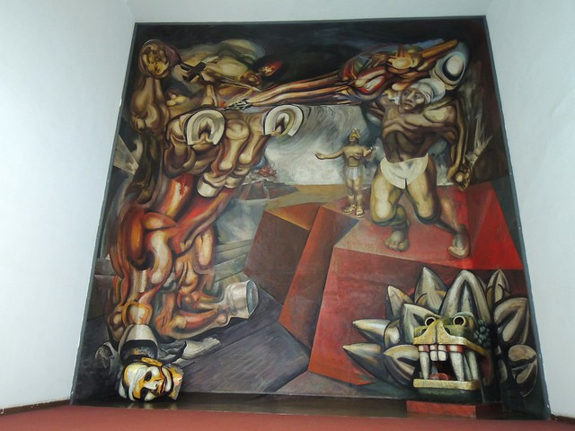 A Siqueiros mural, his first use of 3d stuff like you see on both sides in the foreground by bryandkeith on flickr