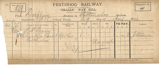 Festiniog Railway 'smalls' waybill 1910   by ian.dinmore