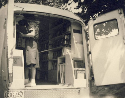 Patrons visiting the bookmobile. (undated) | by aacpl