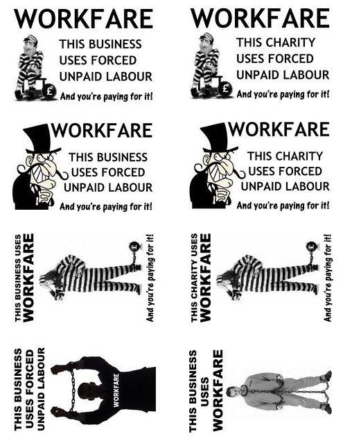 Anti-workfare protest stickers template 2013