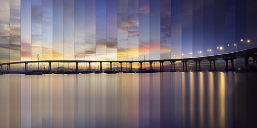 sunrise coronado bridge sky clouds color timelapse time lapse water reflection lights bay sandiego west coast california