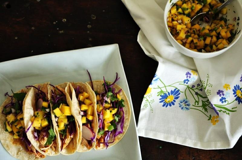 Smoky Chicken Tacos with Mango Pico de Gallo