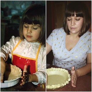 Happy Thanksgiving! I'm thankful for my always fun and supportive family; my wonderful partner in crime, Bryce; great friends in both IL & CA; my health; a job that I like going to; and, of course, pie. #thanksgiving #tbt #pie #samehaircut | by semisweet&nuts