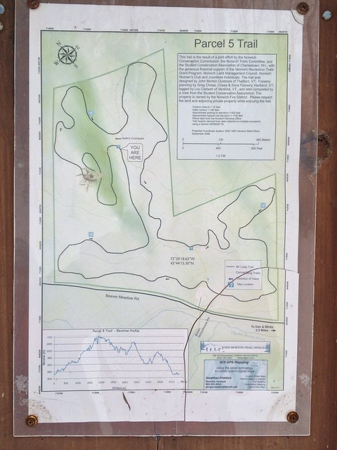 sign vermont map hiking norwich parcel5 parcelfivelooptrail
