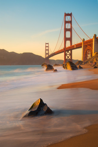 bridge sunset seascape beach stone landscape coast sand nikon warm wave goldengatebridge goldengate nikon24120 marshallbeach nikond800