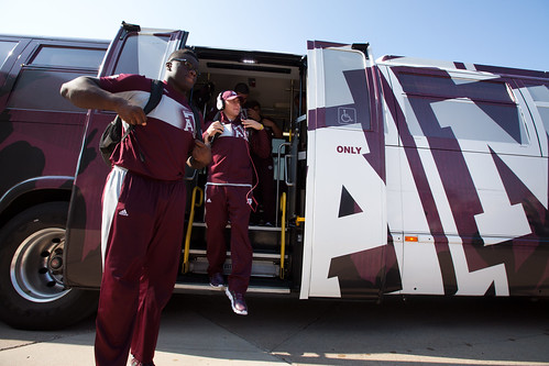 Team coming out of the bus for Spirit Walk