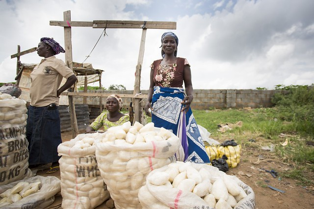 Woman sells fufu in a marketplace, Abuja - a staple food of many African and Caribbean countries. It is often made with a flour made from the cassava plant. ©IFPRI:Milo Mitchell