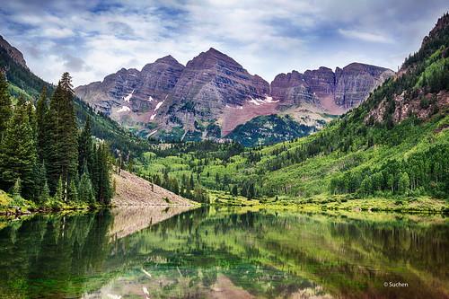 lake reflection colorado maroon peak aspen