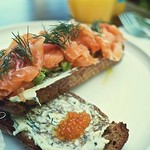 Cured salmon sandwich @ john montagu sydney