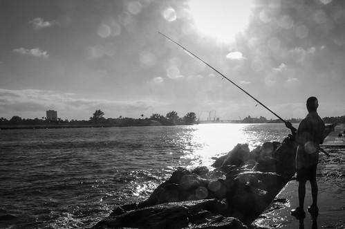 sunset bw white black fishing fisherman rocks waves florida westpalmbeach inlet singerisland channel waterdropsonlens