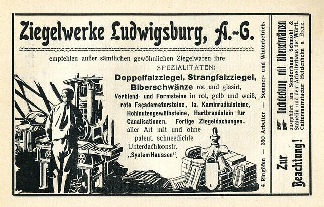 Werbeanzeige des Ziegelwerkes Ludwigsburg