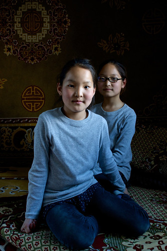 Twin girls in their ger | by World Bank Photo Collection