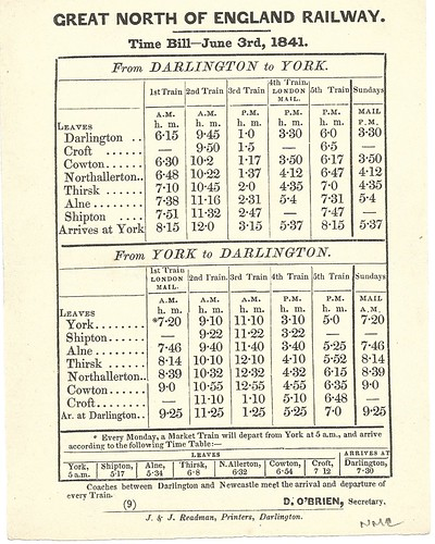 Great North of England Railway time bill 1841 | by ian.dinmore