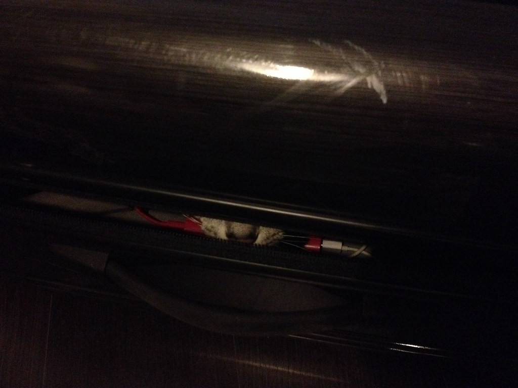Vetoketju laukusta oli auki. Tulos kuvassa.