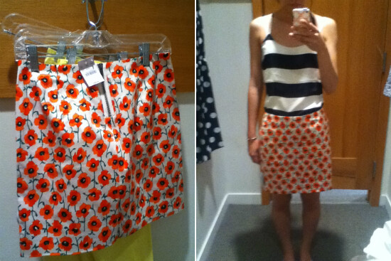 054ad9126d ... J.Crew Factory printed mini in neon persimmon | by brightenday
