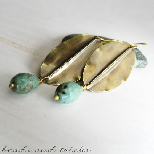 Brass foldformed earrings