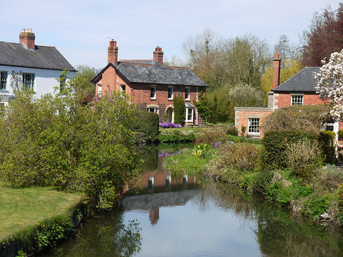 old uk england english heritage history reflections river spring village riverside britain victorian eu explore magnolia mauve british herefordshire bushes springflowers redbrick cottages aubretia eardisland springblossom explored riverarrow louiseenglish herefordshireblackandwhitevillages orchardgreen