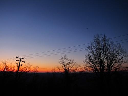 sky moon tree sunrise powerline rockfishgap