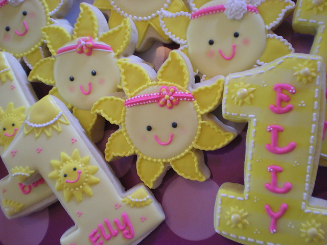 Sunshine Themed 1st Birthday Cookies