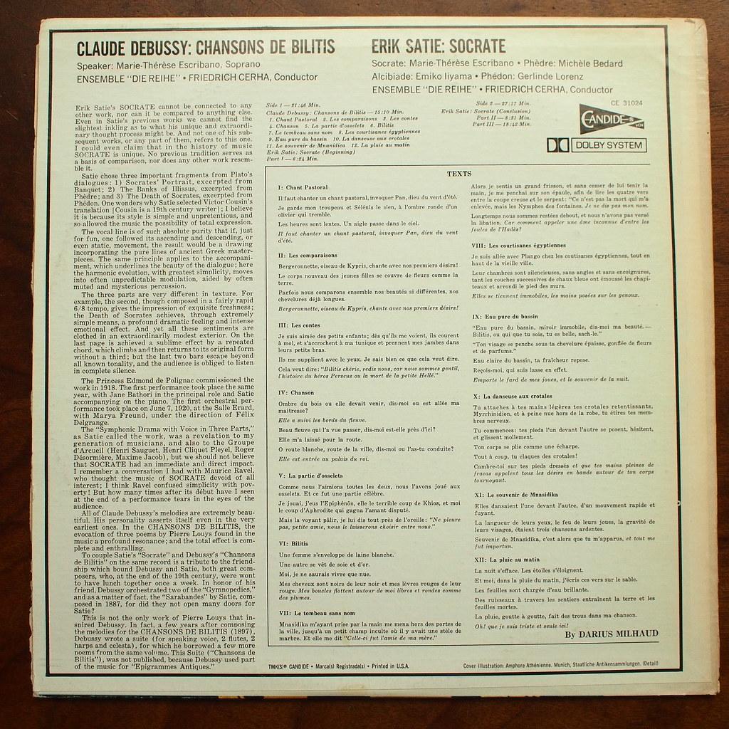 Backside Debussy Chansons De Bilitis Erik Satie Socr Flickr