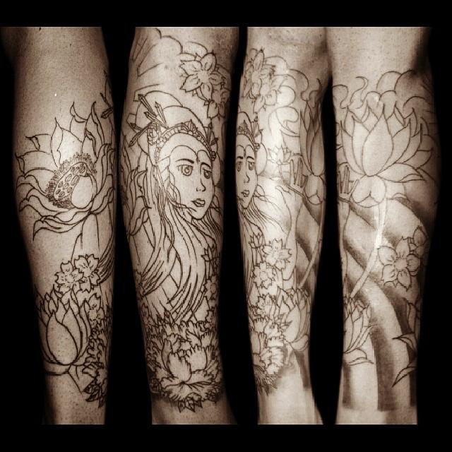 2º Sessão Da Tattoo Do Vitor Gueixa Geisha Flores Flow