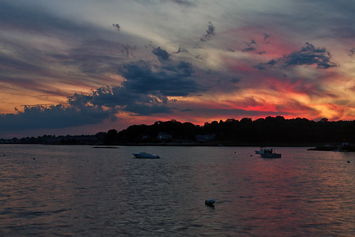 ocean sunset sea sky seascape color water clouds reflections landscape bay harbor dusk connecticut branford stonycreek longislandsound