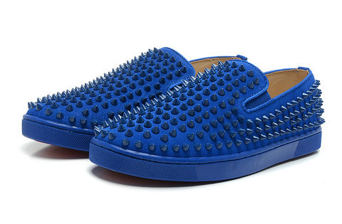 huge discount 0fa7f 352ad Men Low Flats Christian Louboutin Blue Spiked Rollerball S ...