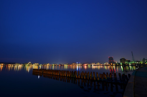 longexposure reflection japan night waterfront dusk lakeside shimane nightview magichour matsue lakeshinji d600 松江 島根 宍道湖 1635mm bluemoment