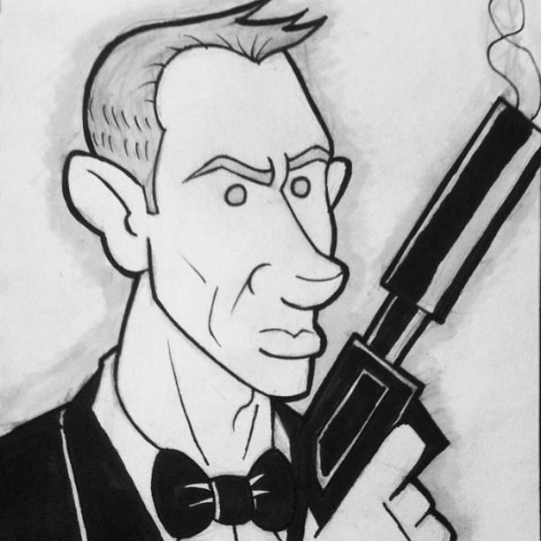 Daniel Craig As James Bond 007 Sketch Cartoons Drawing
