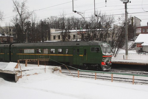 Commuter train at Rastorguyevo platform on the Paveletsky direction of the Moscow railway