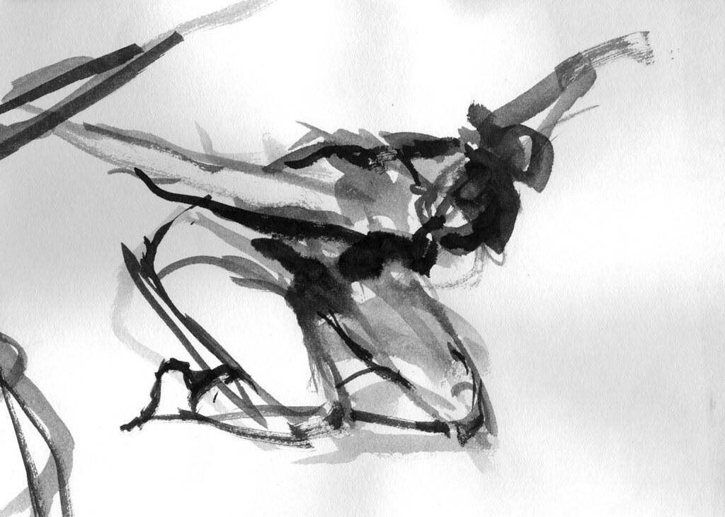 Danza Dibujo En Movimiento Tinta China Sobre Papel Flickr