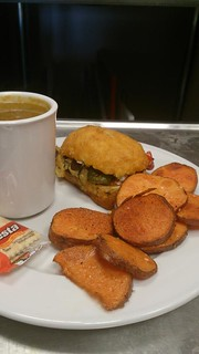 Chicken Breast stuffed w Grilled veddies & Sweet potato fries   by CLNH Lunchbox Cafe