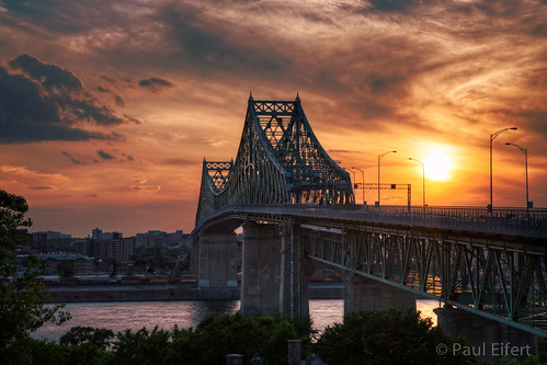 city sunset sky sun clouds river dynamic montreal cityscapes bridges stlawrence range hdr jacquescartier