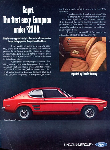 1970 Ford Lincoln Mercury Capri Sport Coupe Advertising Road & Track July 1970