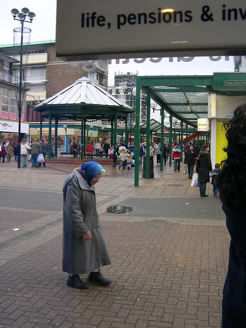 Tiny old woman, Corby UK 2004: fuck off Tories!