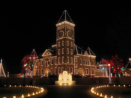 christmas longexposure building composite lights courthouse arkansas benton blendedexposure salinecounty interestingness116 i500