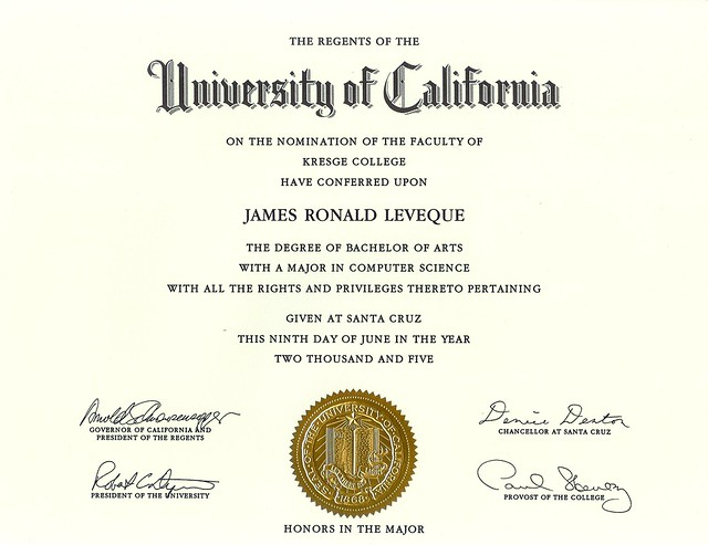 My Computer Science degree has Arnold Schwarzenegger's Autograph