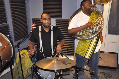 Errol Marchand and Bennie Pete of Hot 8 Brass Band. Photo by Kichea S Burt.