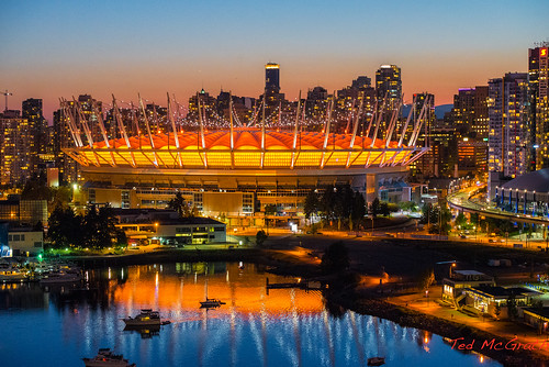 sunset orange reflection water skyline vancouver twilight stadium dome falsecreek vancouverbc shimmer cityview bcplace bcplacestadium cityofvancouver vancouvercity eastfalsecreek cans2s falsecreekeast tedsphotos