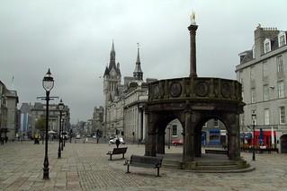 Aberdeen. Castlegate square in Aberdeen with the unicorn statue on the Mercat cross. it was built in 1686.   by denisbin